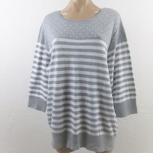 Karen Scott Gray Striped Sweater 1X 3/4 Sleeve